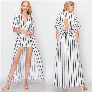 NWT Haute Monde Kimono Striped Jumpsuit W/ shorts